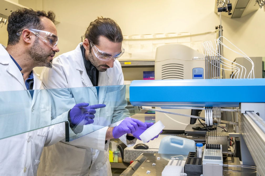 two researchers in lab working with Laboratory equipment